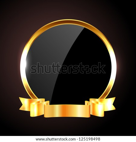 Vector round black glossy label / banner / frame with shiny golden ribbon - stock vector
