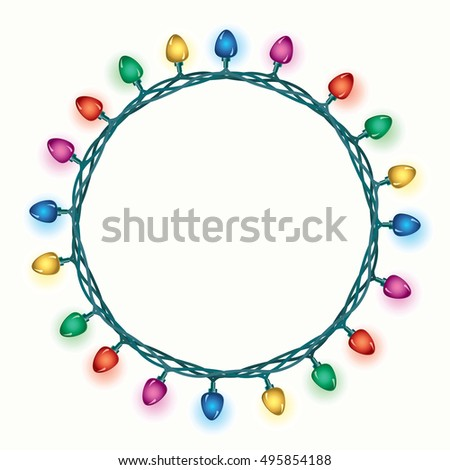 vector round border of christmas light lamps