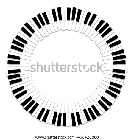 vector round border of piano keyboard - stock vector
