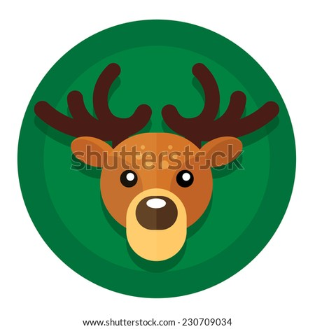 Vector round button with Christmas or New Year holidays from Santa's reindeer sleds. - stock vector