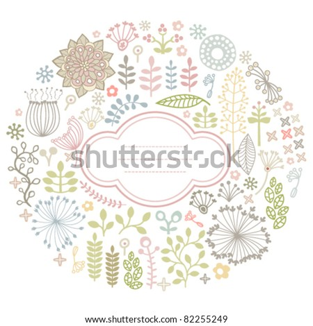 vector round card with floral ornament - stock vector