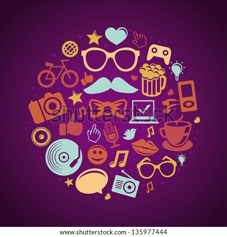 Vector round concept with trendy hipster icons and signs - stock vector