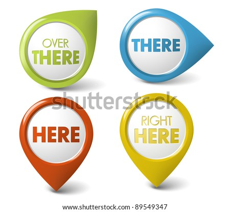 Vector Round 3D here / there  pointer - button (call to action) - stock vector