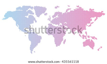 Vector Round Dotted World Map On A White Background - stock vector