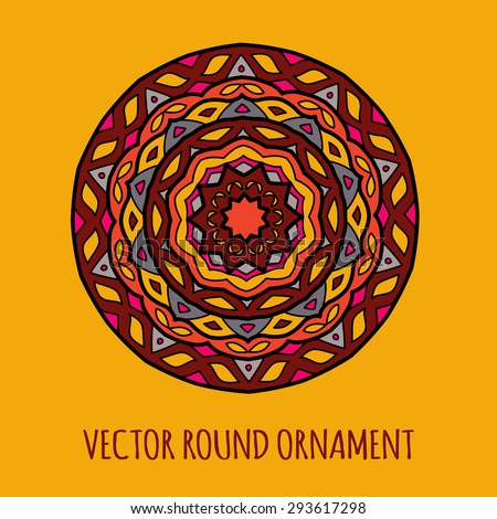 Vector round ethnic ornament inspired african, indian and arabian motives. Mandala. Could be used as decorative element for ethnic shop or as pattern for web design, print or textile - stock vector