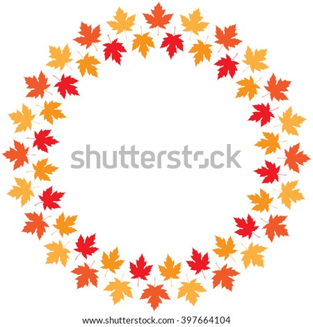 Vector round frame from maple autumn leaves of different colors - stock vector