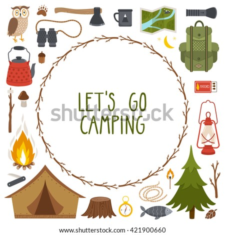 """Vector round frame made from camping equipment, wreath from branches and text """"Let's go camping"""" - stock vector"""