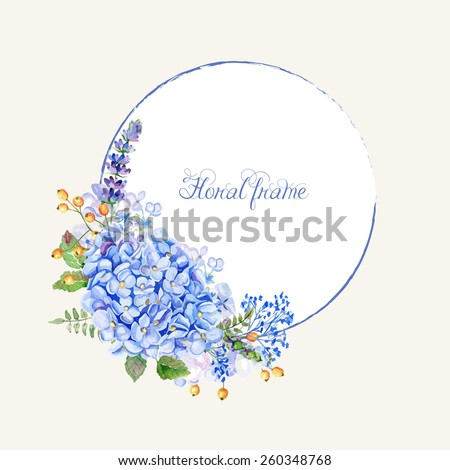 Vector round frame of blue hydrangea and other flowers. Watercolor wreath. Can be used as a greeting card for background of Valentine's day, birthday, mother's day or any other design - stock vector