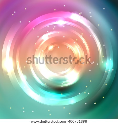 Vector round frame. Shining circle banner. Glowing spiral. Vector illustration. Pink, orange, green colors.  - stock vector
