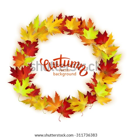 Vector round frame with colorful autumn leaves, card template, natural backdrop