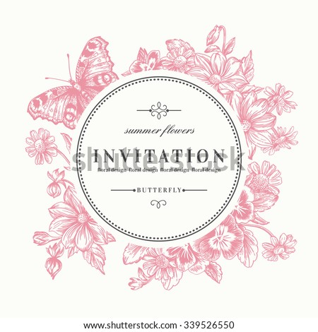 Vector round frame with summer flowers and a butterfly in vintage style. Pansies, daisies, violet, dahlia. Pink flowers. - stock vector