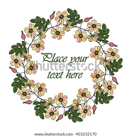 Vector round frame with the briar (brier). Vector delicate eglantine frame. Invitation template card. Save the date vector circular illustration. - stock vector