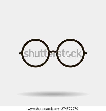 Vector Round Glasses Icon Symbol - stock vector