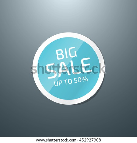 Vector round glossy paper sticker - Big Sale - stock vector