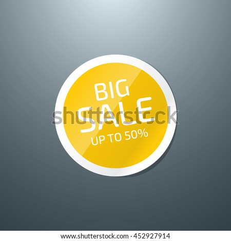Vector round glossy paper sticker - Big Sale - stock vector