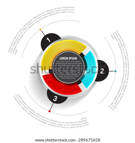 Vector round graph scheme with three colored sections on the white background and with a place for text - stock vector