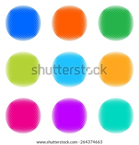 Vector round halftone colorful web buttons on white
