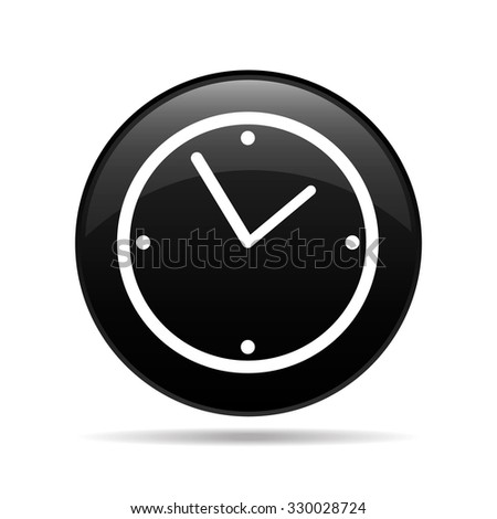 vector round icon black with white clock face - stock vector