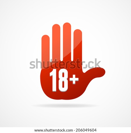 Vector Round Icon of 18 sign on white - stock vector