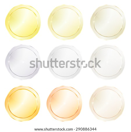 Vector round icons with different types of polished metal, gold, red gold, platinum, silver, bronze, copper, aluminum, brass, which can be used as a coin, price tags, labels, or knob - stock vector