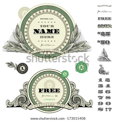 Vector round money and financial frames and ornaments. Great for any design showing money and success.   - stock vector