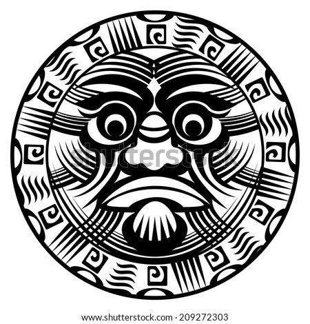 vector round ornamental polynesian tattoo demon with terrible face