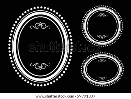 Vector round ornate frame set. Perfect for invitations or announcements. All pieces are separate and easy to edit. - stock vector