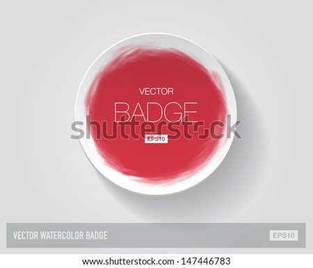 Vector round paper badge hand painted with red watercolor