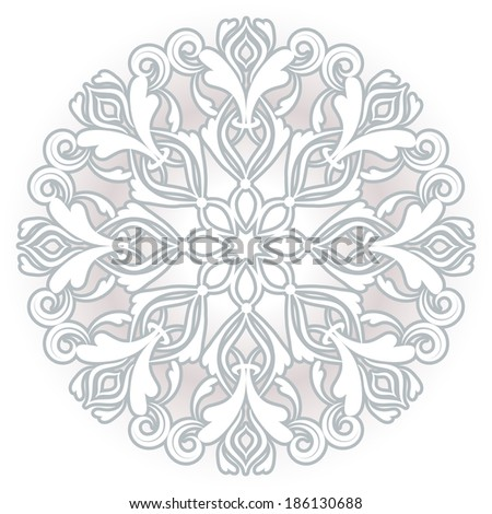 vector round pattern. floral background. greeting card - stock vector