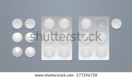 Vector round pills separately and in blister packs, eps10  - stock vector
