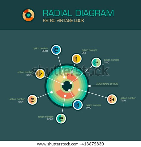 Vector round radial diagram with beam pointers infographics design template. Planetary concept with 8 options. Data visualization illustration suitable for web design. - stock vector