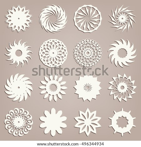 Vector round spiral ornaments collection, logo icon label design elements set. Isolated decorative spirals symbols, stylized flowers. Abstract geometric signs spiral shapes