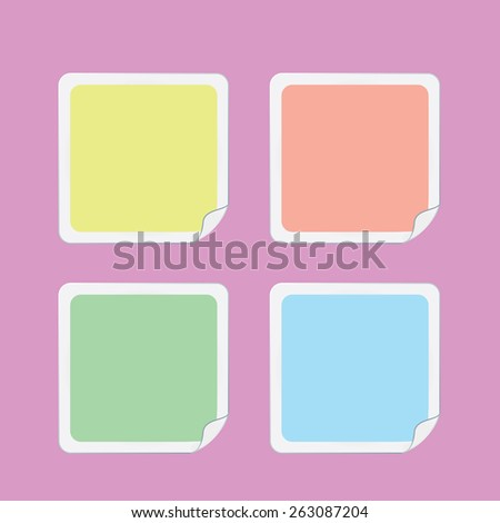 Vector round stickers with curled edge on a pink background - stock vector
