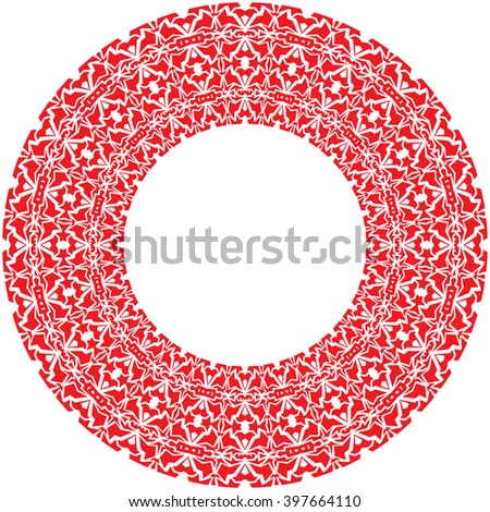 Vector round thick frame from red complex ornamentation - stock vector