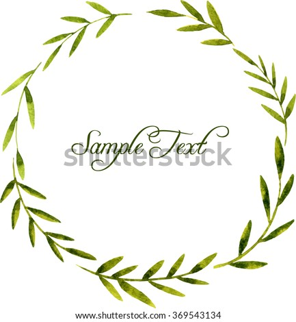 vector round wreath with watercolor green branches and leaves, floral frame,hand drawn vector template - stock vector