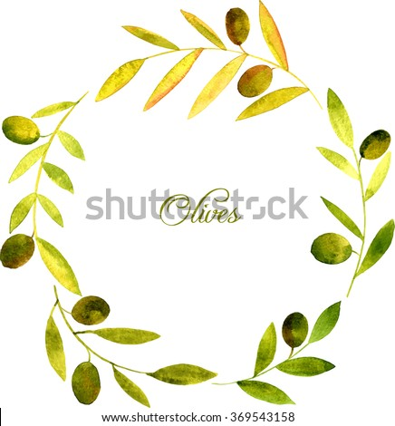 vector round wreath with watercolor green branches of olives, floral frame,hand drawn vector template - stock vector