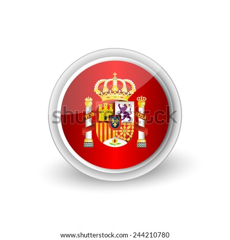 Vector rounded button icon of Coat of arms of Spain (state emblem, national emblem) 2 - stock vector