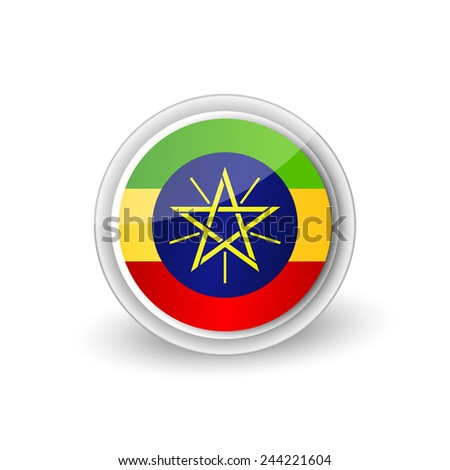 Vector rounded flag button icon of Ethiopia
