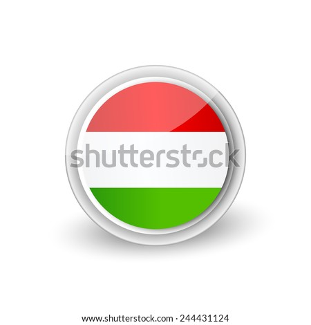 Vector rounded flag button icon of Hungary - stock vector