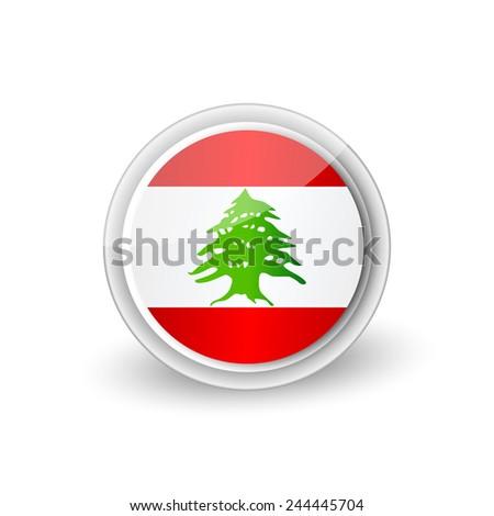 Vector rounded flag button icon of Lebanon - stock vector