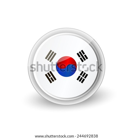 Vector rounded flag button icon of South Korea - stock vector
