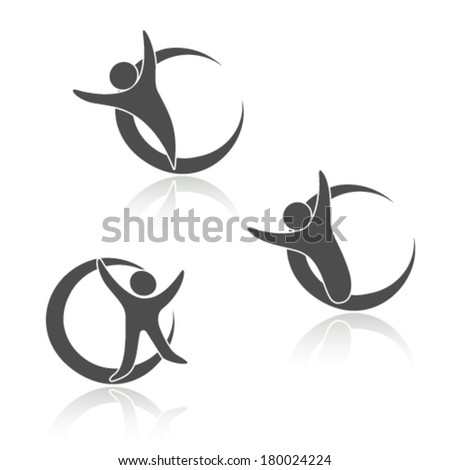 Vector rounded human icons, sign of body, fitness symbols - stock vector