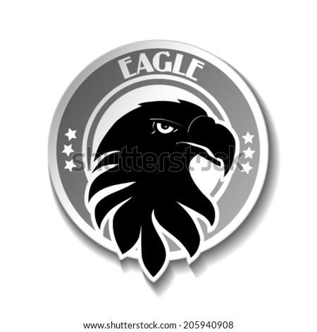 Vector rounded symbol of eagle, black sketch head, label - stock vector