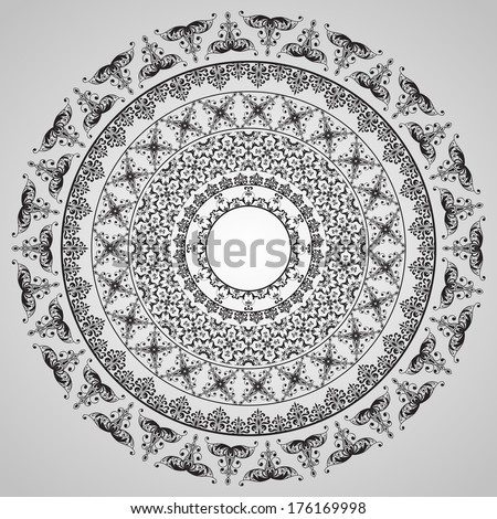 vector  rounded vintage floral pattern, fully editable eps10 file, seamless brushes included - stock vector