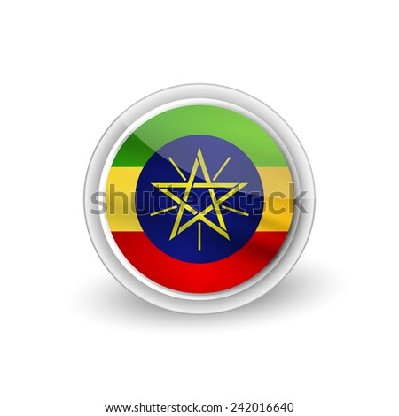 Vector rounded waving flag button icon of Ethiopia