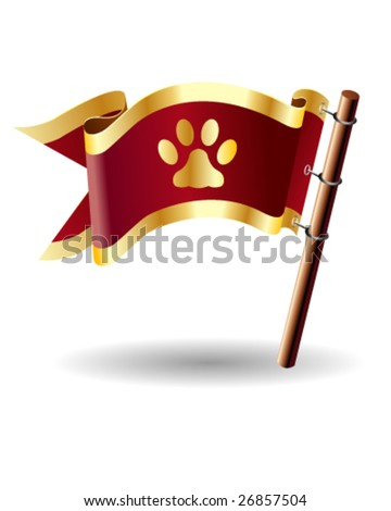 Vector royal flag button with pet paw print icon on red and gold background - stock vector