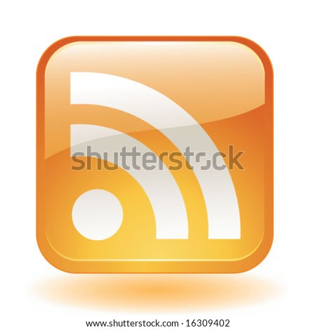 vector RSS glassy icon - stock vector