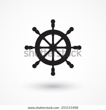 Vector rudder web flat icon. Eps 10 illustration. Boat wheel control icon - stock vector