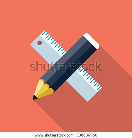 Vector ruler and pencil icon - stock vector