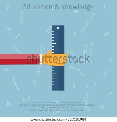 Vector ruler flat illustration. Education concept object - Eps 10. - stock vector